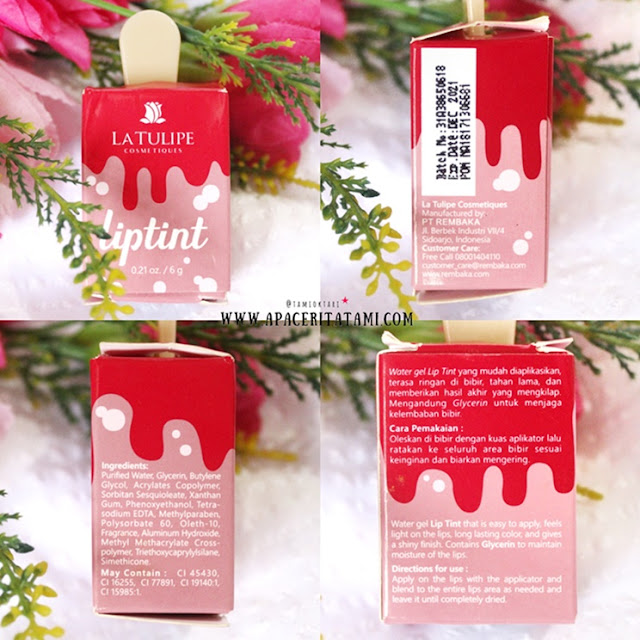 Review La Tulipe Liptint shade Cotton Candy