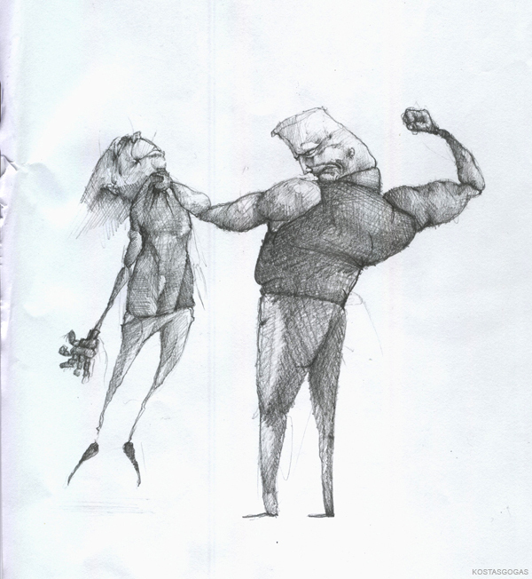 A big man holding a little man on air by his shirt and he is ready to punch him. Original pencil drawing by Greek Artist Kostas Gogas, approx. 2007.