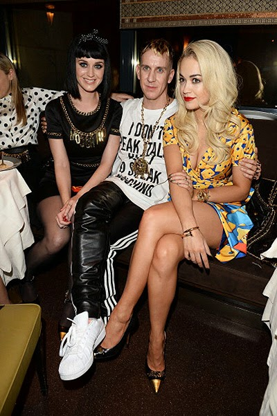 Katy Perry, Jeremy Scott and Rita Ora  at dinner fashion house Moschino