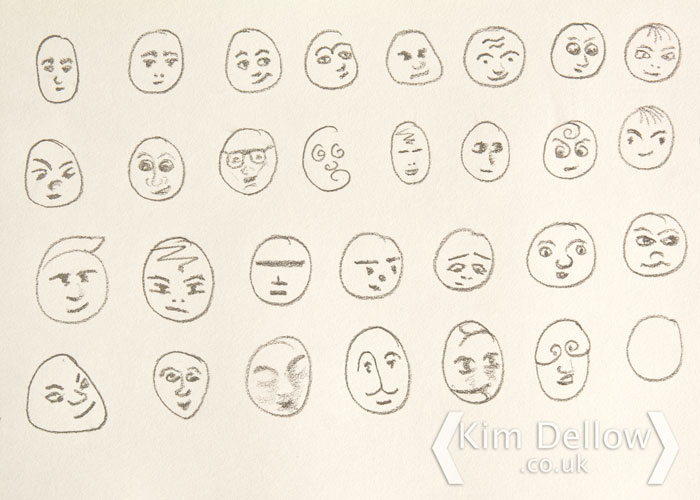 Kim Dellow Show Your Face quick draw sketches