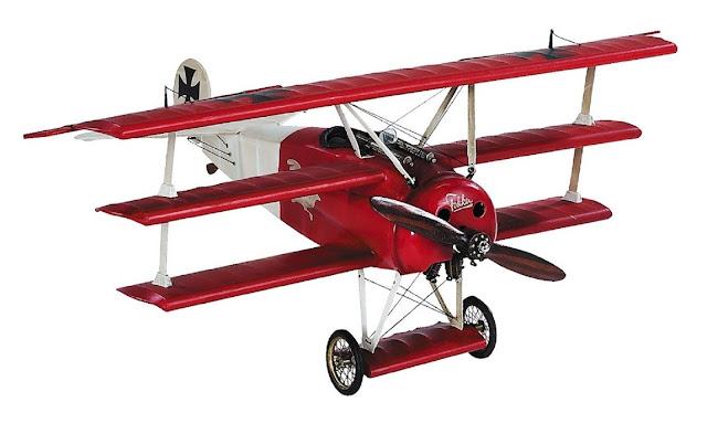 Red Baron's WWI Fokker Wooden Triplane Desktop Model