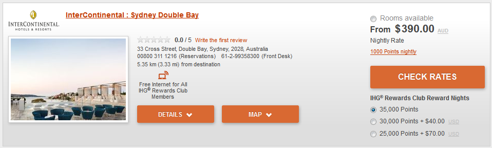 InterContinental Sydney Double Bay 35k IHG points