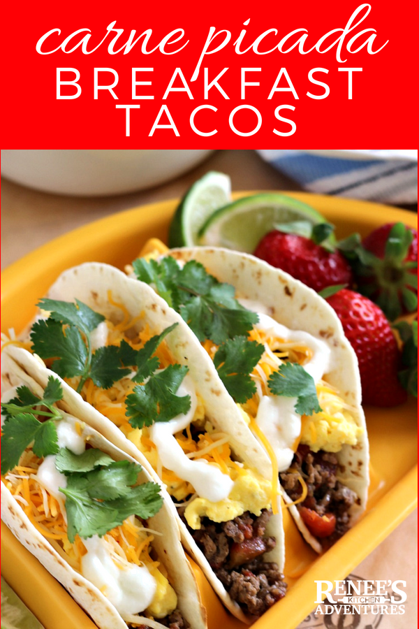Carne Picada Breakfast Tacos by Renee's Kitchen Adventures - easy recipe for Carne Picada used to make these delicious breakfast tacos layered with eggs, cheese, yogurt, and cilantro. They make a great breakfast, lunch or dinner! #BestAngusBeef #certifiedAngusBeef #ad #eggs #tacos #breakfasttacos #breakfast #brunch #Cincodemayo