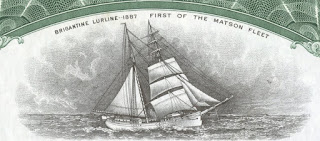 vignette of the brigantine Lurline, Matson Navigation  Company