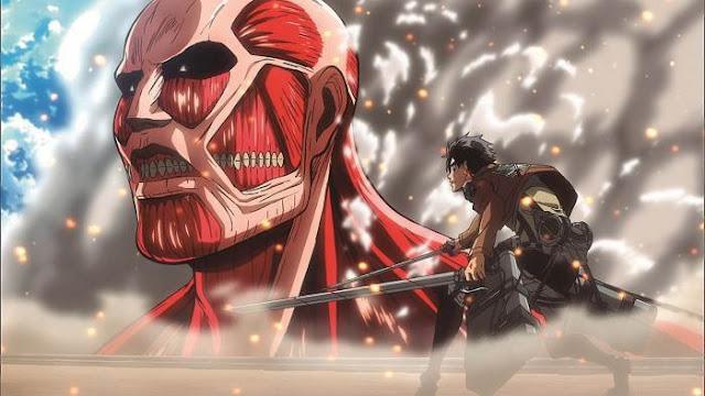 Eren en face du titan colossale
