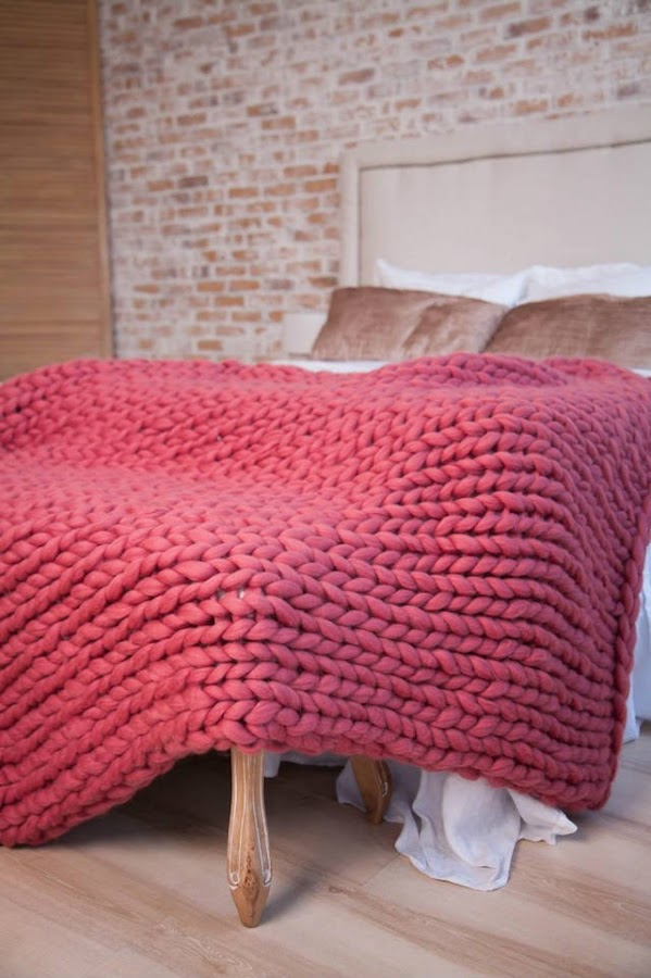 manta lana merino XXL roja