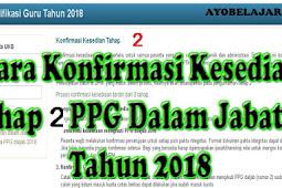 Cara Konfirmasi Kesediaan Tahap II PPG Dalam Jabatan Tahun 2018