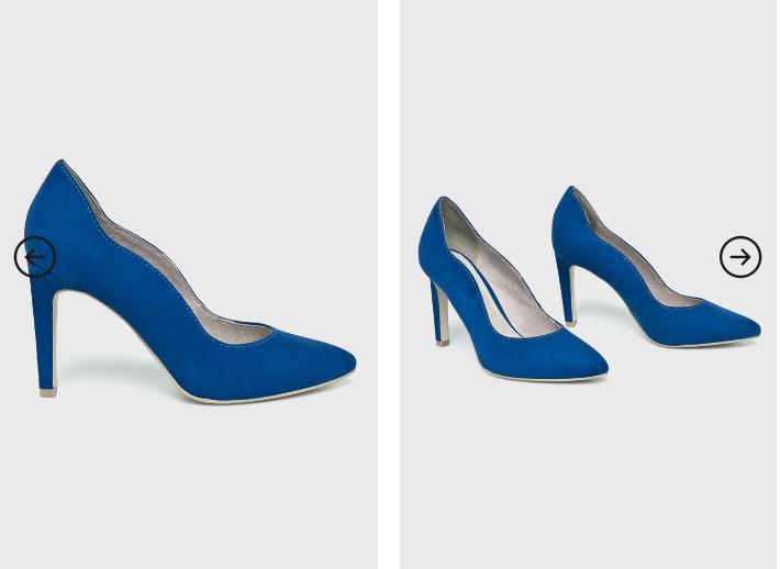 Marco Tozzi - Pantofi cu toc albastri eleganti ieftini pentru evenimente
