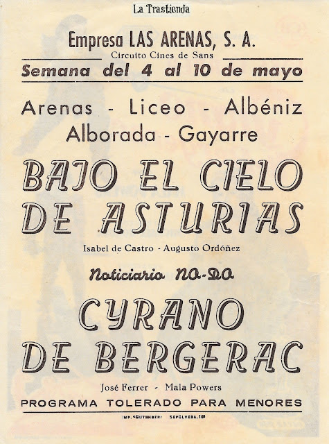 Cyrano de Bergerac - Programa de cine - Jose Ferrer - Mala Powers