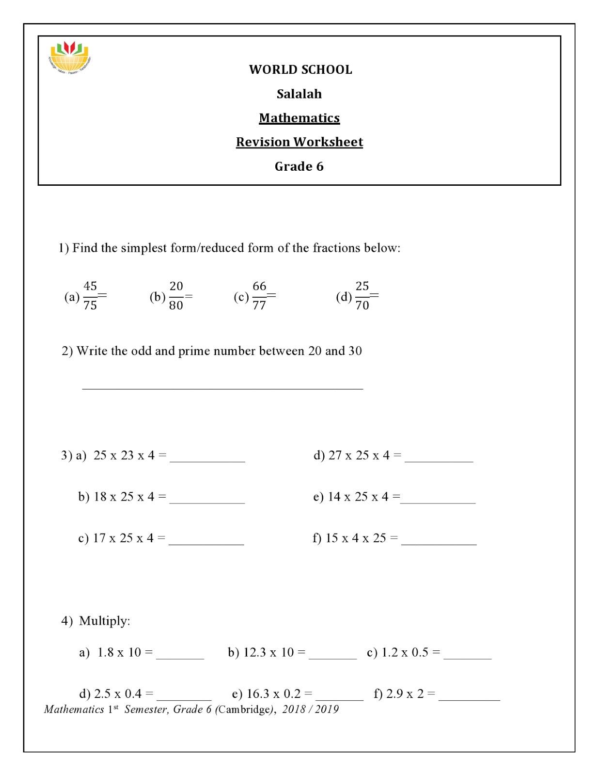 Birla World School Oman: Math Revision for Grade 6 as on 03-01-2019