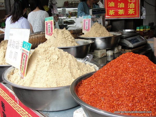 flours and spices in Muslim Quarter in Xi'an, China