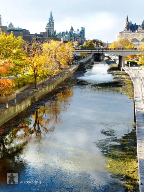 Boote und Kanus sind hier jetzt nicht mehr unterwegs, da der Wasserspiegel des Kanals bereits fuer den Winter abgesenkt wurde. Im verbleibendem Wasser des Rideaus spiegeln sich Herbstfarben vor dem Ottawa Parliament