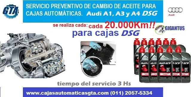 Servicio de caja automatica DSG de Audi