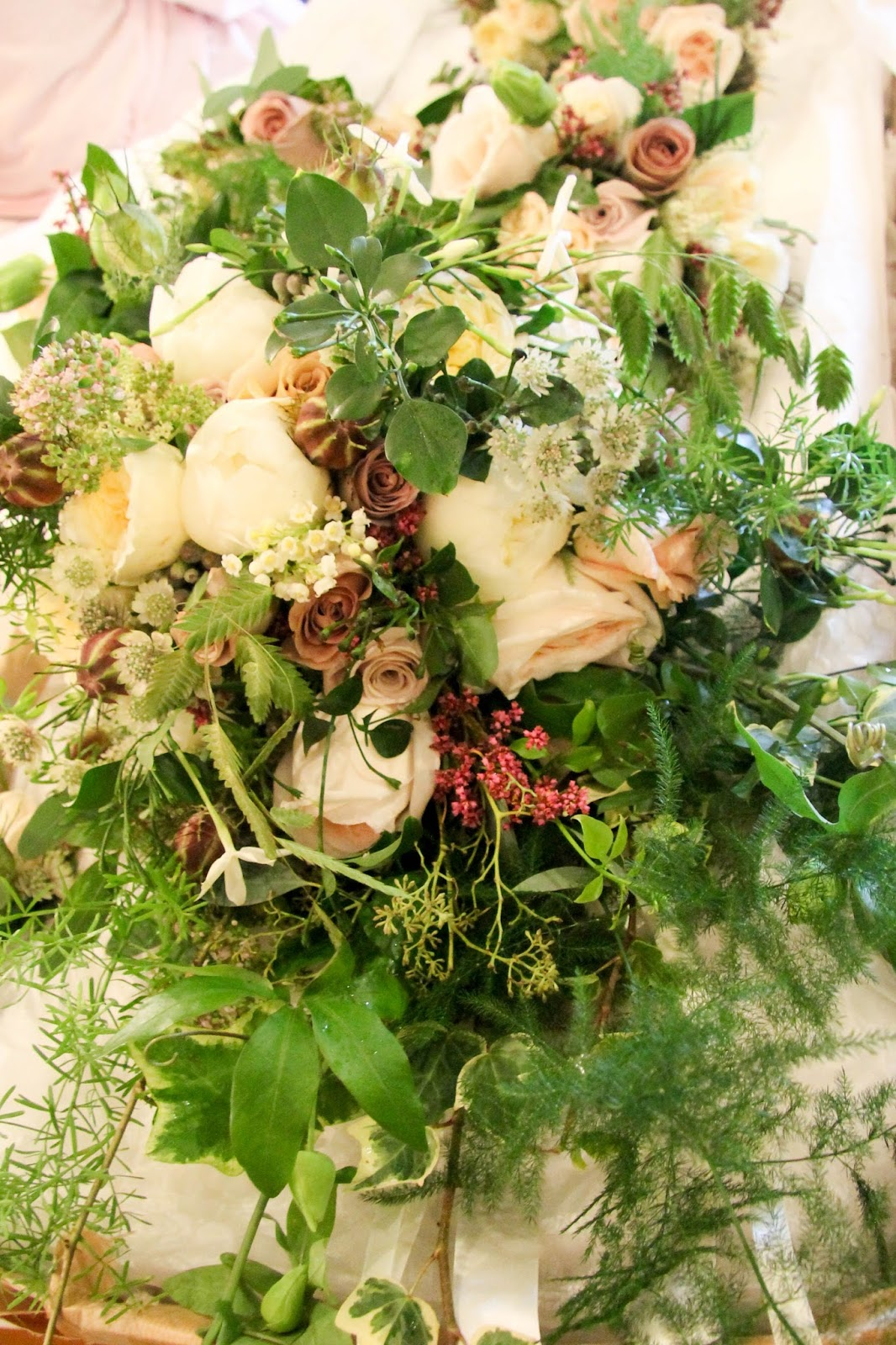 Heather johns wedding flowers at st annes singleton singleton lily of the valley scented jasmine heather our brides namesake peonies roses nigella dill astrantia grasses and passion flowers and astilbe izmirmasajfo