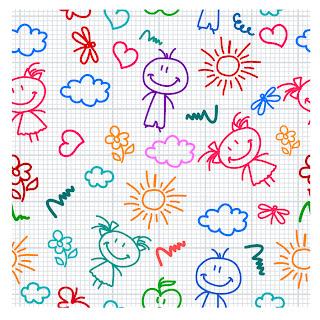 シームレスな子供の落書き背景 hand drawn kid pattern イラスト素材