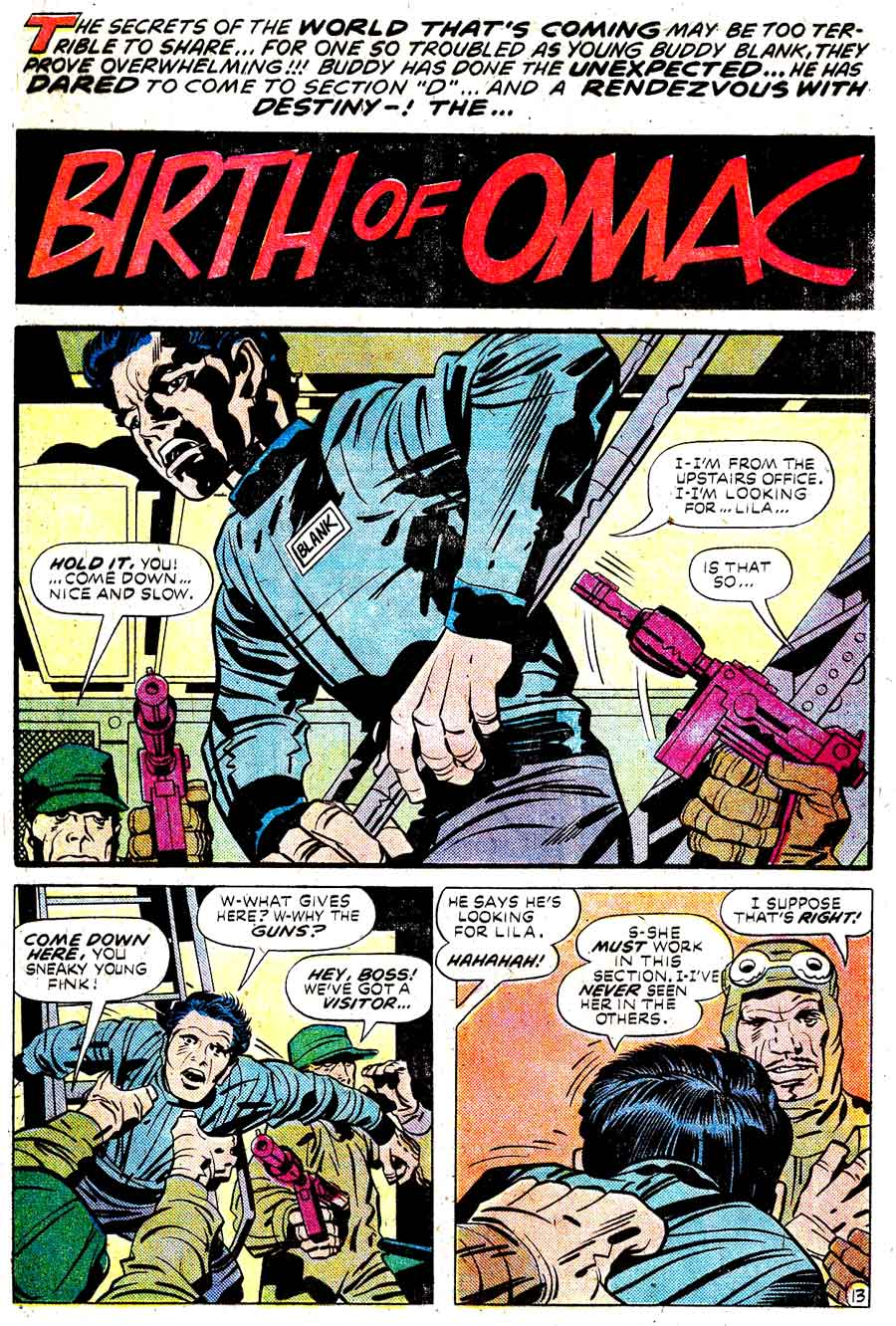 Omac v1 #1 dc bronze age comic book page art by Jack Kirby