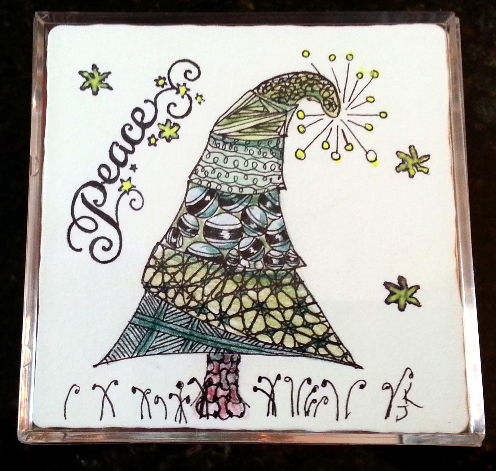 Handmade Zentangle Christmas Cards - Xmast 4