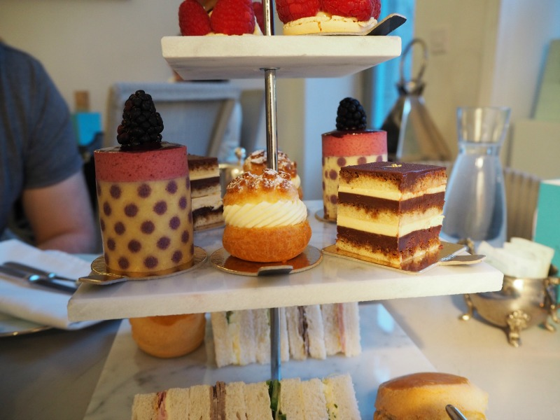 Afternoon tea at Almondine Aberdeen - Charlotte, choux pastry and chocolate opera cake