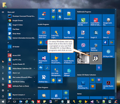 ShixxNOTE tile on Windows 10 Start Menu