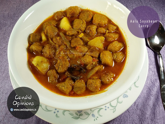 Aalu Soyabean Curry (Soya Nuggets and Cubed Potatoes Curry)