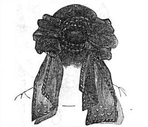 Crepe head-dress with loops, 1857, Graham's Illustrated Magazine