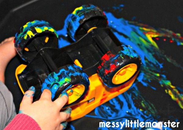 toy car tyre process art for kids