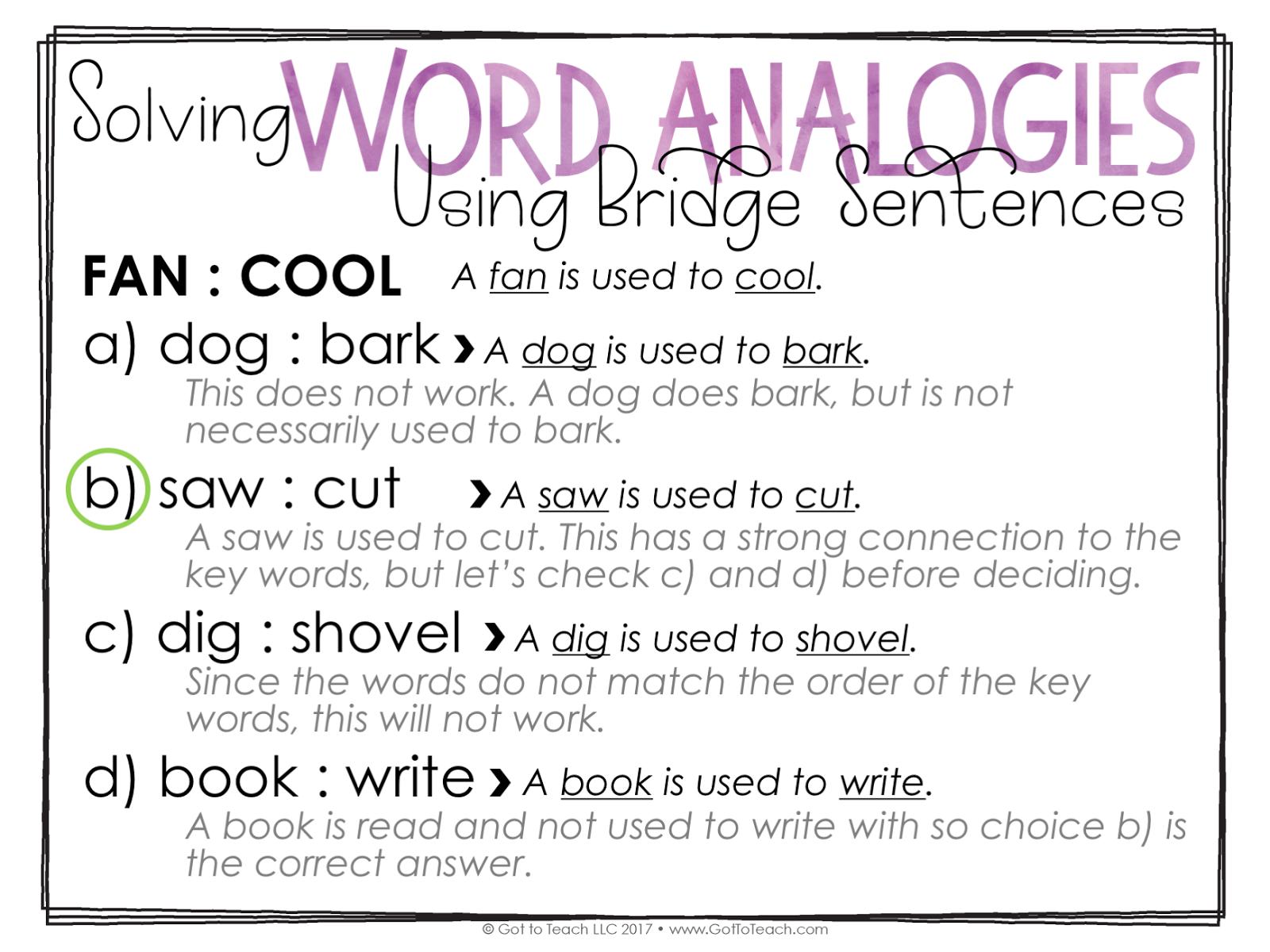 how to write a bridge sentence and analogy