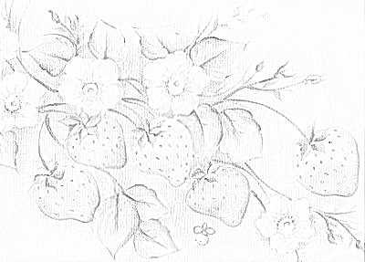 morangos pintura em tecido