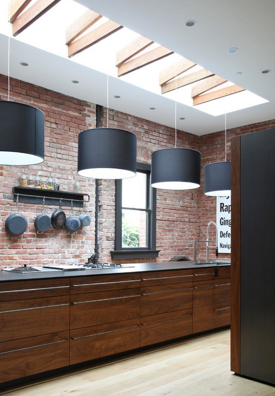 Modern Furniture: Traditional Kitchen With Brick Walls 2013 ...