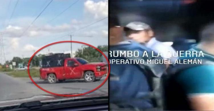 """VIDEO: """"Adentro del pinche monstruo"""": Sicarios del CDG viajando en blindado rumbo a Miguel Alemán, Tamaulipas"""