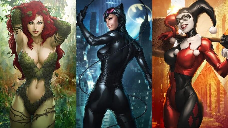 Poison Ivy, Catwoman, Harley, Quinn, DC, Comics, Girls, 4K, #4.2987