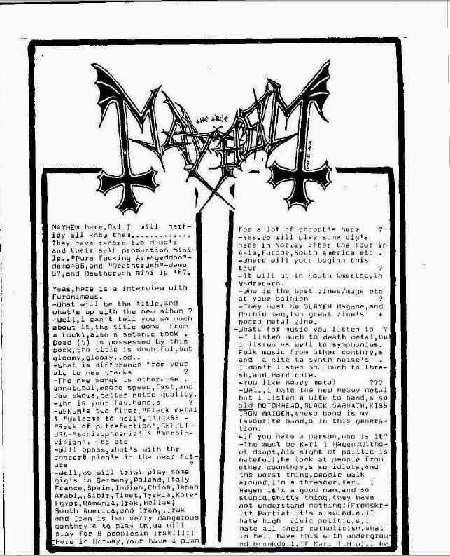 Morbid, Mayhem and more...: Interviews/letters