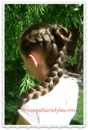 bridesmaid hairstyle, dutch braid flower
