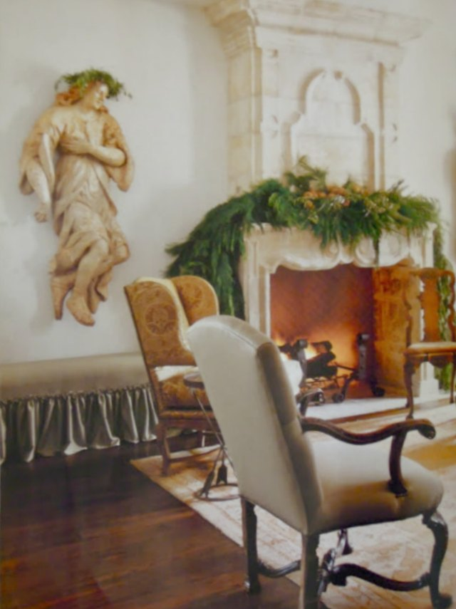 image result for Pam Pierce living room French fireplace mantel Christmas decorating holiday French