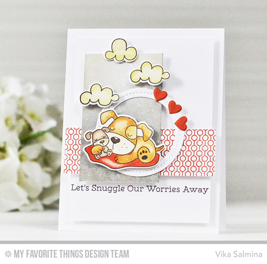 Handmade card from Vika Salmina featuring Playful Pups and Sweet Sloths stamp sets and Die-namics, Lined Up Dots Background stamp, Single Stitch Line Circle Frames and Tag Builder Blueprints 6 Die-namics #mftstamps