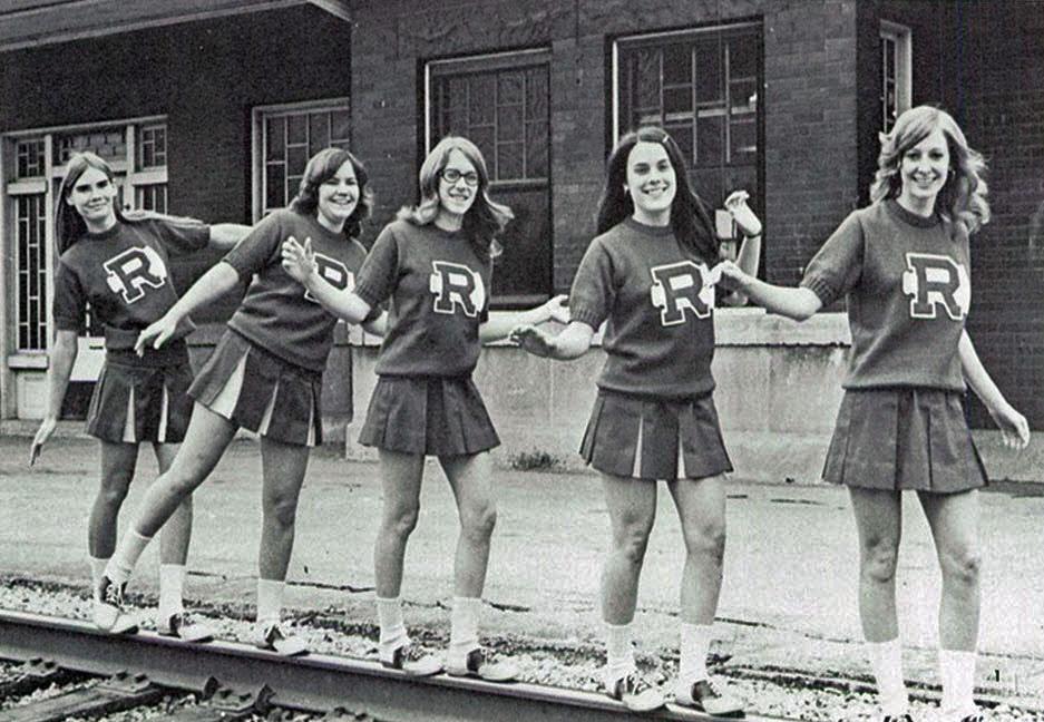 BampW Photographs Of Cheerleaders In 1960s 70s Vintage