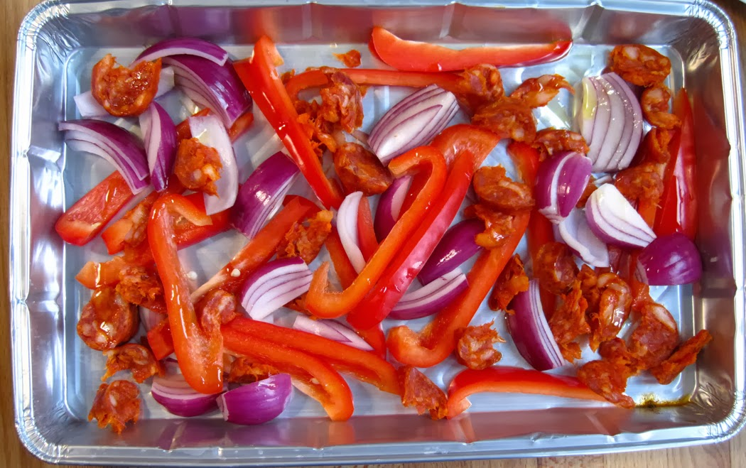 Peppers Onions and Chorizo