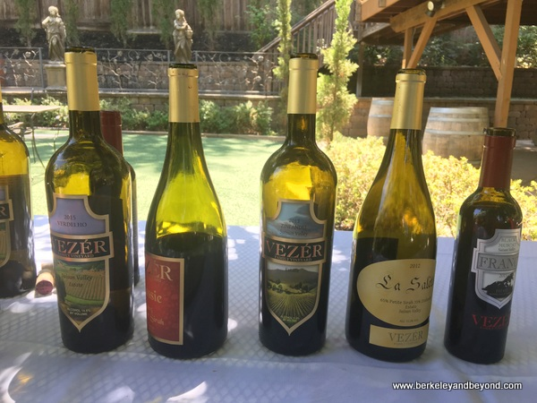 tasting line up at Vezer Family Vineyard in Fairfield, California