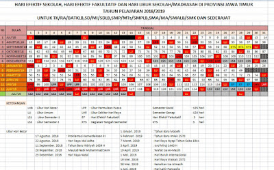 Download Kalender Pendidikan 2018/2019 Jawa Timur Excel