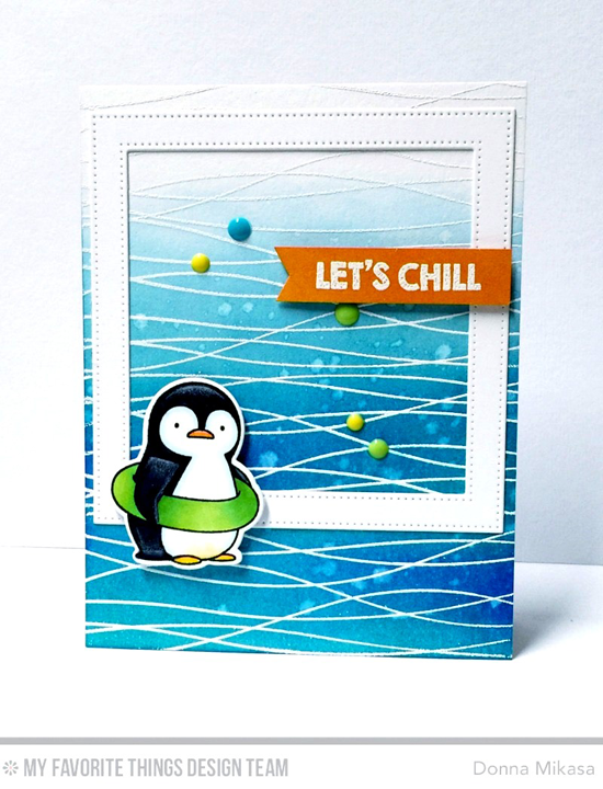 Handmade card from Donna Mikasa featuring Birdie Brown Penguins in Paradise stamp set and Die-namics, Balloon Strings Background stamp, and Pierced Square Frames Die-namics #mftstamps