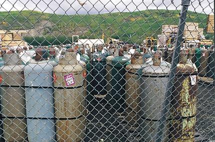 Propane tanks on the Nenana docks will be sent to Bush Alaska villages.