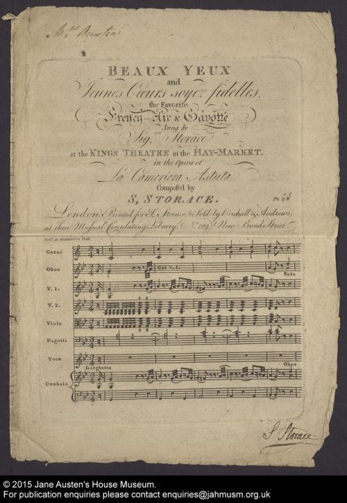 Beaux yeux qui causez mon trépas air de Stephen Storace dans La Cameriera Astuta (1788)