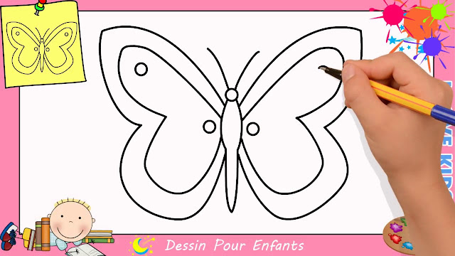 رسم فراشة للاطفال
