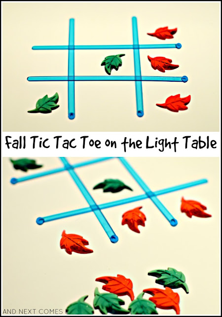 Fall tic tac toe on the light table from And Next Comes L