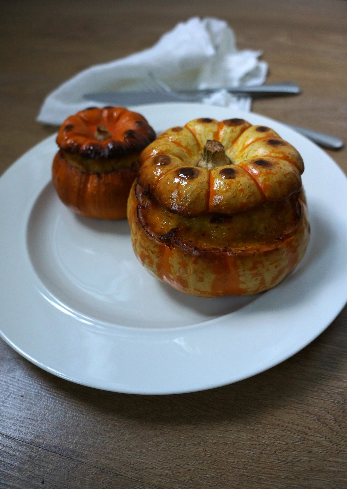 baked stuffed pumpkin with sweet potato cheddar mash