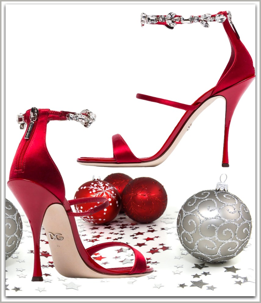 DOLCE & GABBANA Red 105 Crystal Embellished Satin Sandals