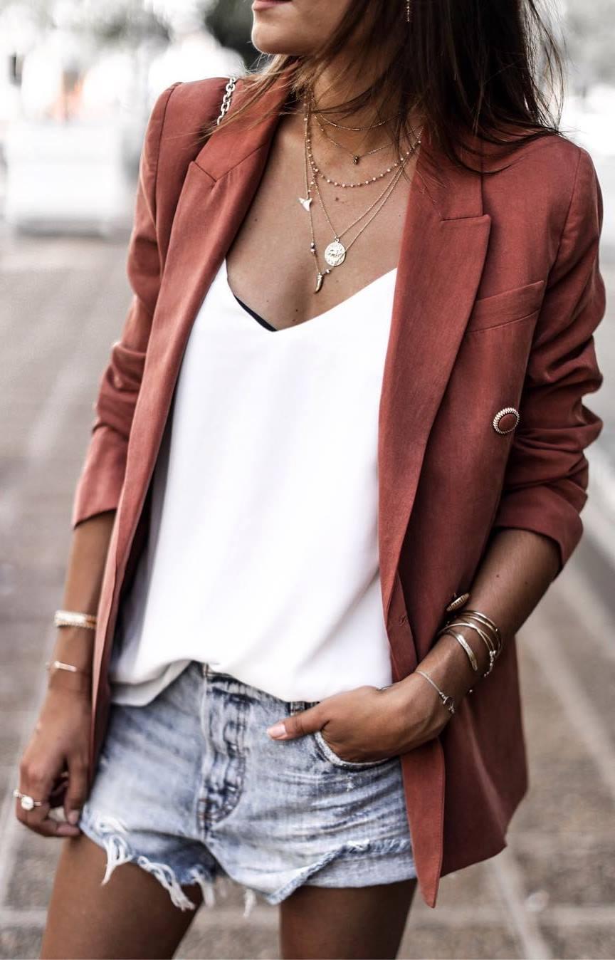 what to wear with denim shorts : blazer + white top