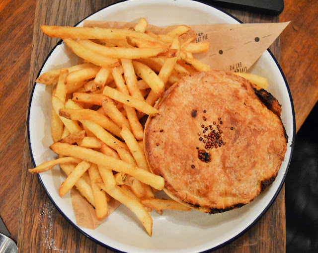 pie and chips on a plate at pieminister.