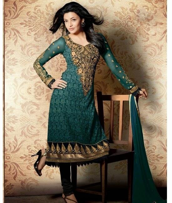 Kajal Agarwal Stills In Green Designer Dress