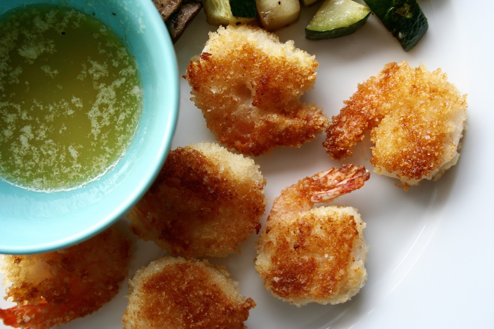 Baked Batter Fried Shrimp With Garlic Butter Dipping Sauce